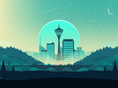Seattle landscape apartments illustration city market home building space needle seattle airstream