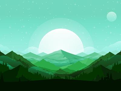 Mountains illustration mountains landscape