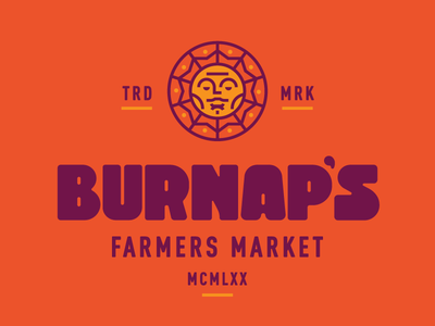 Burnaps market sun apples farmers farming mark logo branding type