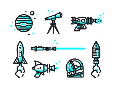 Space Icons illustrations galaxy stars lightsaber astronaut laser rocket planet space icons