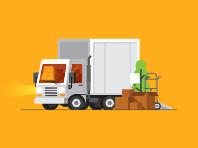 Truck boxes box illustration truck tree moving
