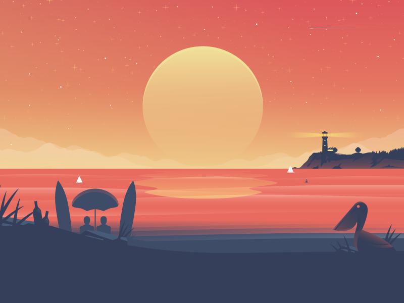 Landscape Illustration Vector Free: Sunset By Nick Slater