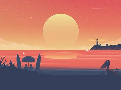 Sunset landscapes illustration sun lighthouse beach pelican landscape