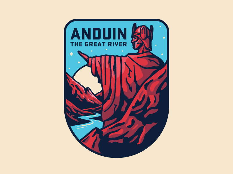 Anduin The Great River patch badge illustration statue sun mountains