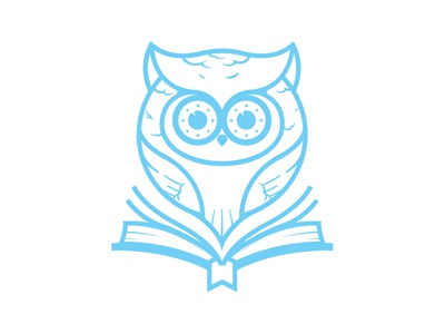 Owl owl vector great horn owl bird book blue illustration logo sketch branding knowledge cute