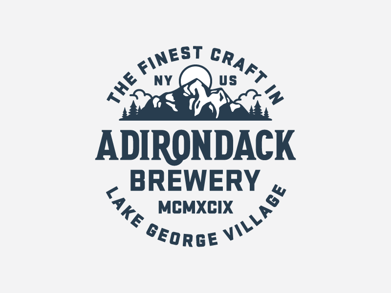 Adirondack Brewery beer new york patch badge bear mark brewery mountains logo hops