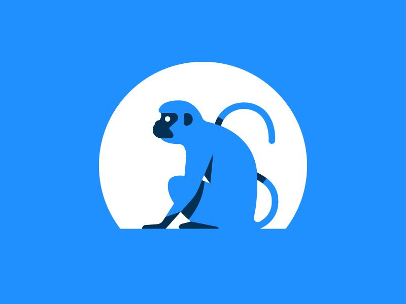 Monkey monochromatic ape logo sun mark monkey