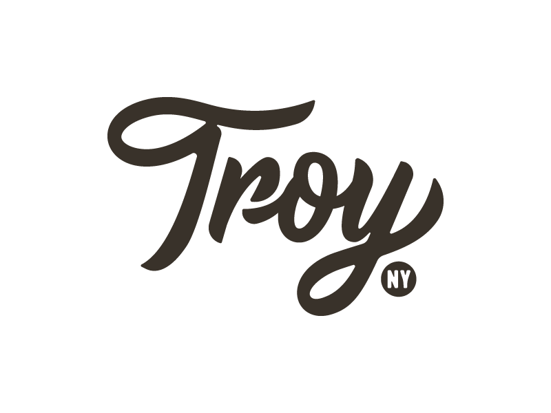 Troy town type logo script letters