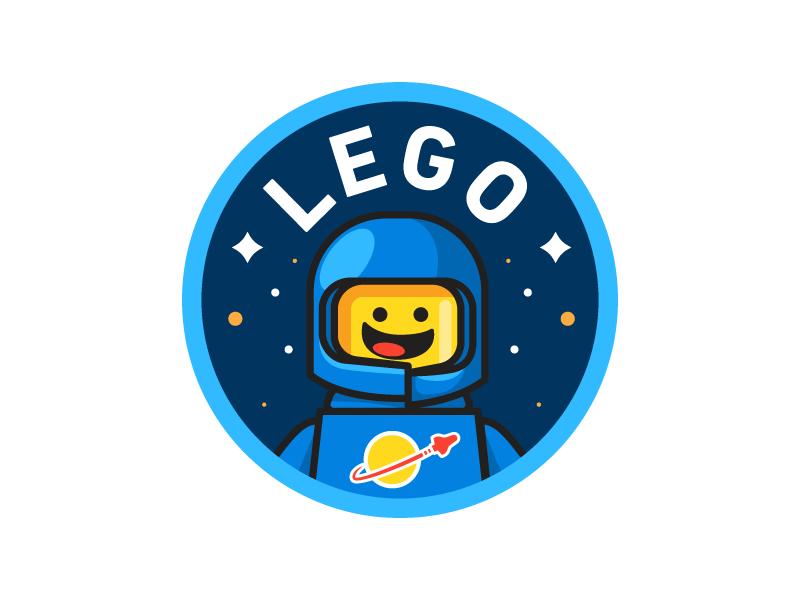 Lego illustration icon delivery space badge nasa space ship astronaut lego
