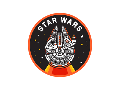 Star Wars illustration stars space craft ship space icon badge millennium falcon falcon star wars