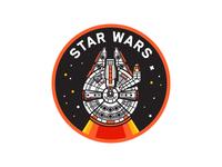 Star Wars illustration stars space craft ship space icon badge millennium falcon falcon star wars