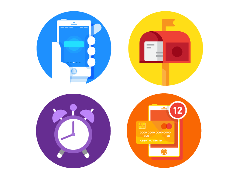 Random Icons illustration alarm app mailbox phone icons