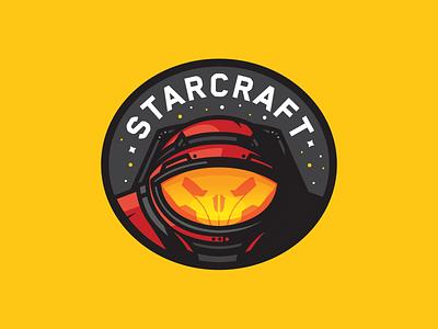 Starcraft space suit skull space marine illustration icon badge starcraft