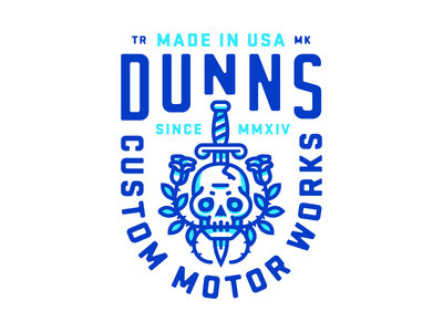Dunns branding logo letters motorcycle cycle gears motors type