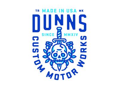 Dunns branding logo letters motorcycle cycle gears motors type