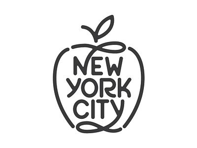 New York City mark logo lettering. big apple new york city nyc type