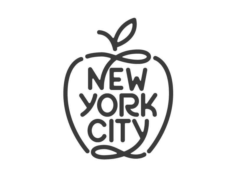 New York City mark logo lettering. big apple new york city nyc type