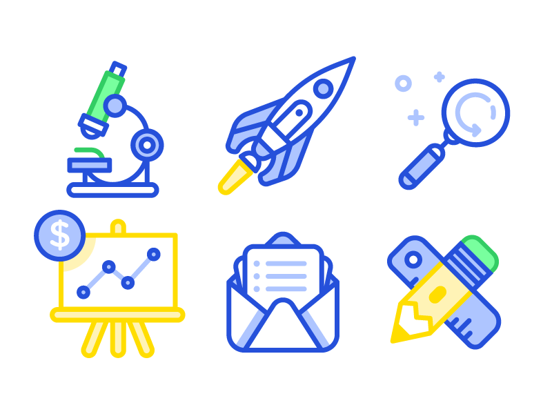Various Icons search rocket pencil mail chart microscope illustration icons