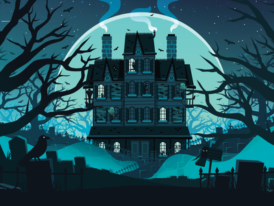 Haunted  house night crow mailbox illustration graveyards apartments home building spooky slack haunted