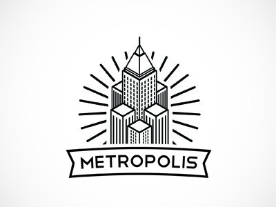 Metropolis building skyline sky-scrappers high risers city metropolis black and white logo branding brand identity empire tower