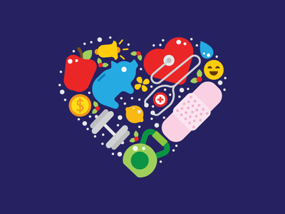 Health & Wellness WIP heart fruit food gym weights apple illustrations icons wellness health