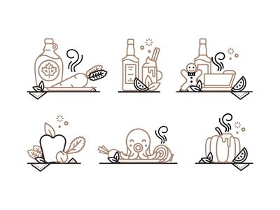 Mmmmm tasty!  illustration can bottle wine coffee beer pie apple octopus fruit food icons