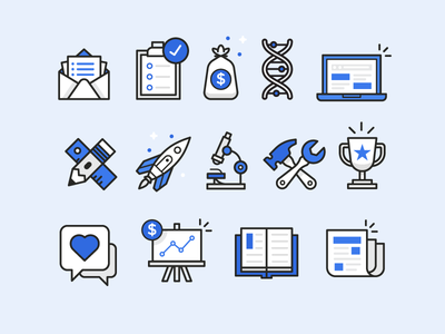 Icons  newspaper chart chat book hammer microscope pencil rocket clipboard mail icons