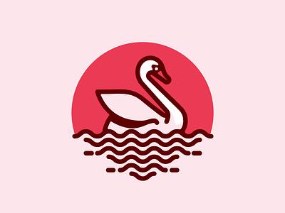 Swan line illustration logo mark swan bird