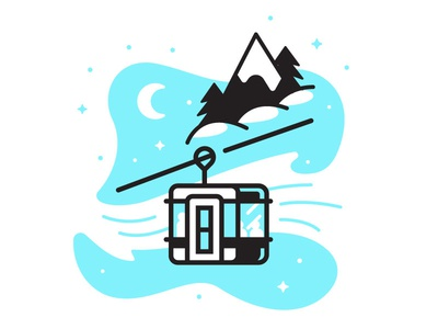 Ski Lift trees illustration lift mountains snowboard