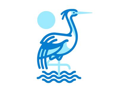Crane Mark line illustration logo mark crane bird