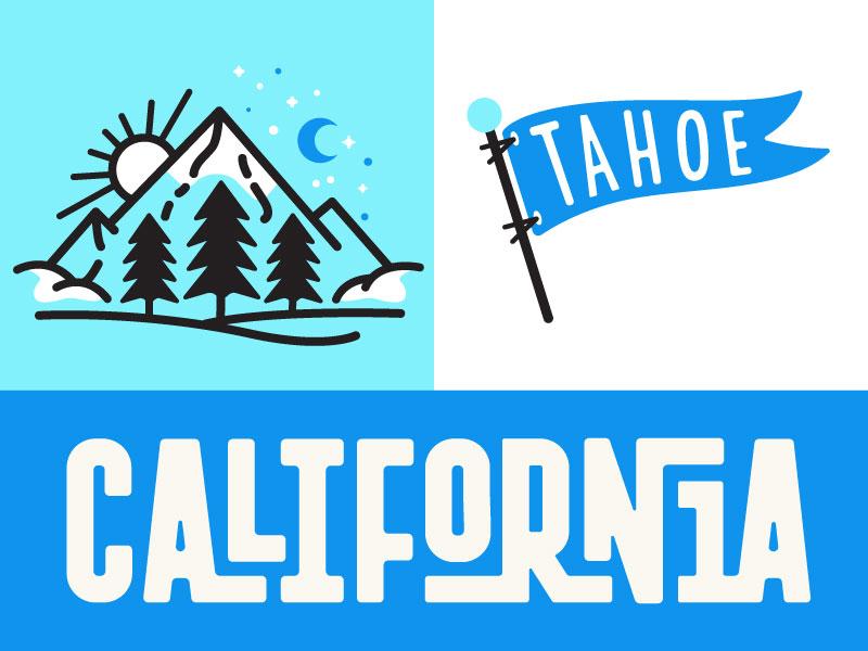 Tahoe mark type illustration sun night flag tahoe mountains california cali