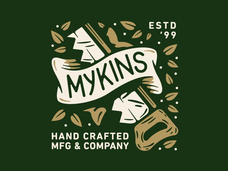 Mykins type mark logo branding custom letters wood