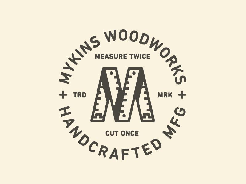M Mark type mark logo branding woodworks wood letter