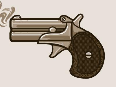 Gun  gun old pistol wood grain smoke bang illustration sketch brown monochromatic