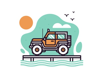 Jeep illustration truck hawaii jeep jurassic park
