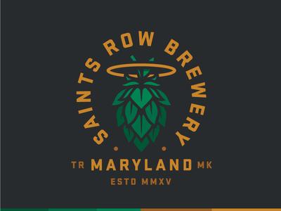 Saints Row Brewery  halo saint maryland brewery beer type mark logo branding hops