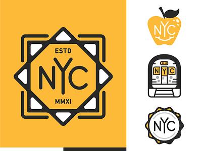 NYC leaf monogram apple metro subway new york nyc mark branding logo type