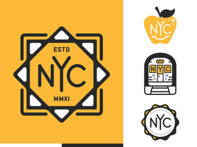 NYC leaf monogram apple metro subway new york nyc mark branding logo type