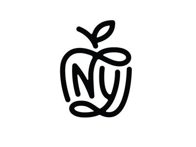 NY Monogram mark logo new york nyc city apple monogram ny