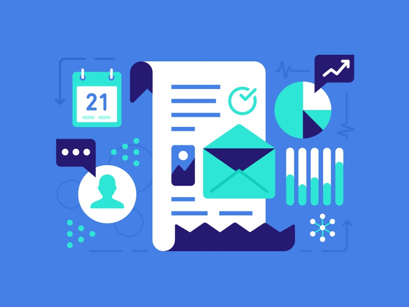 Prepare And Gather  illustration data calendar people app charts pie email graphs