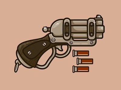 Weapon  gun old pistol wood grain smoke bang illustration sketch brown monochromatic