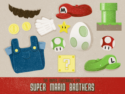 The Super Essentials For Super Mario Brothers mario hat gloves mustache star pipe question mark luigi mushroom 1up coins