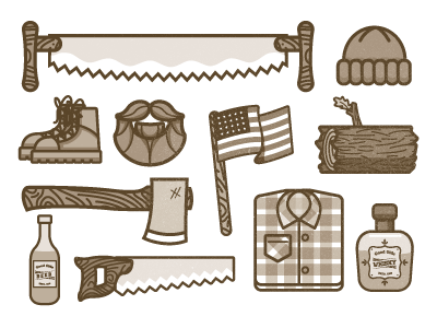 Lumber Jack Icons saw beer whiskey boots flag american beard log wood ax rope letters custom letters sketch pen ink