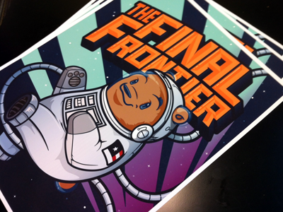 The Final Frontier Print... for Mom's day bear print poster wander space astronaut stars gama rays sun planets