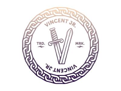 Final V mark letters logo sword chain lightning bolts v gradient type mark