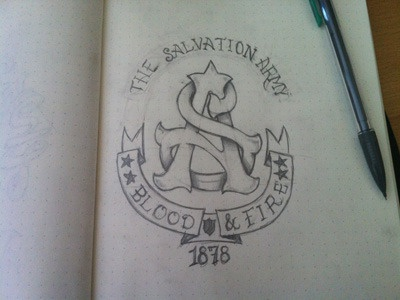 The Salvation Army Monogram Sketch sketch type handmade pencil banner stars monogram shield