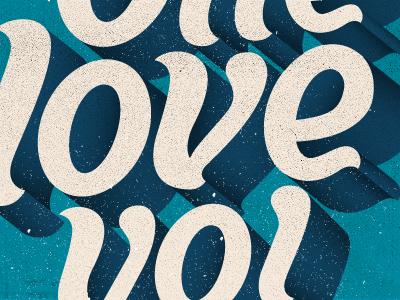 One love yo!  Poster love heart print poster shadows script groovy typography curvy typo custom type