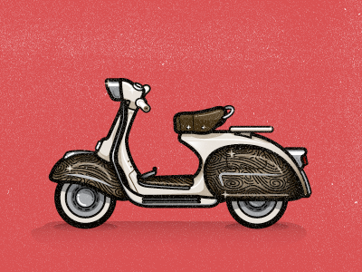 Vespa Tribute to Ines Gamler illustration motorbike wood pattern texture moped motorcycle highlights