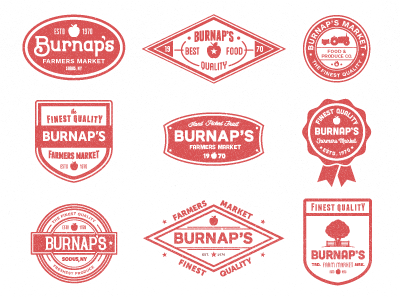 Burnap's badges vegetables produce vintage fresh fruit custom type badges food upstate new york farmer apple