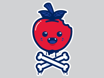 Bad Apple apple illustration poison bones vampire red blood drip